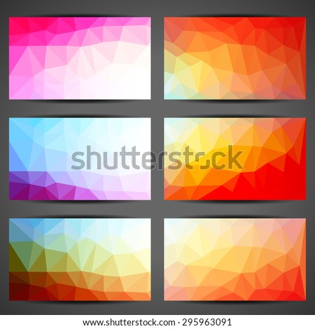 set of colorful polygon business card templates vector illustration