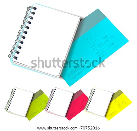 Set of Colorful Postcards with Notepads - stock vector