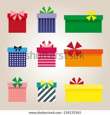 Set of colorful presents - stock vector