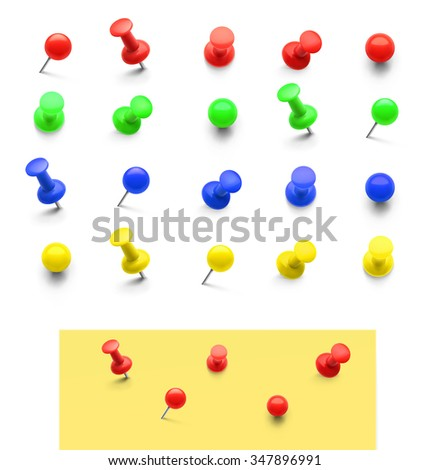 Set of colorful push pins isolated on white background. Vector illustration - stock vector