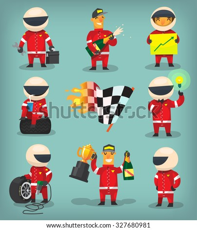 Set of colorful racing participants, champions, engineers and pit stop workers - stock vector
