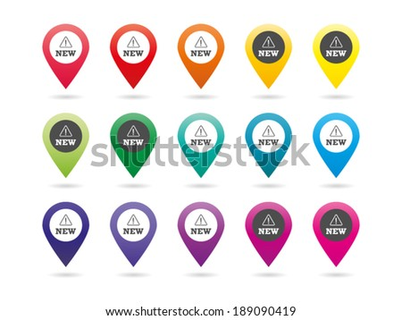 Set of colorful rainbow spectrum new pins vector graphic illustration template isolated on white background - stock vector