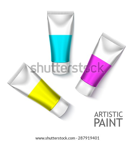 Set Of Colorful Realistic Tubes For Cosmetics Or Artistic Paint Isolated. Here Can Be Creams, Toothpaste, Gel, Sauce, Paint, Glue, Ointments, Lotions, Medicines. Use Mockup For Your Design - stock vector