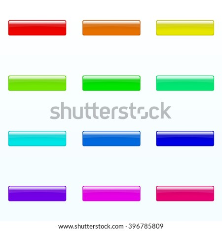 Set of colorful rectangle buttons (red, orange, yellow, green, blue, violet, tortoise, pink bright colors). Glossy shine design elements. Multicolored illustration for web or typography - stock vector