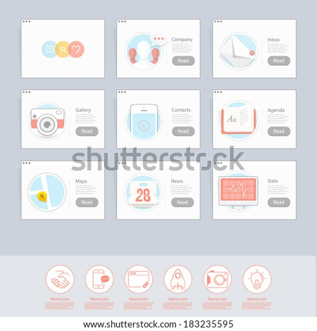 Set of colorful responsive  flat UI navigation elements with icons set for personal portfolio website and mobile templates.