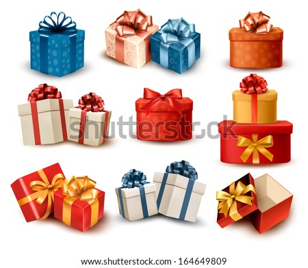 Set of colorful retro gift boxes with bows and ribbons. Vector illustration. - stock vector