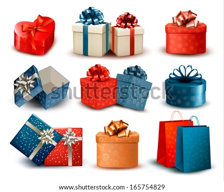 Set of colorful retro gift boxes with bows and ribbons. Vector illustration - stock vector