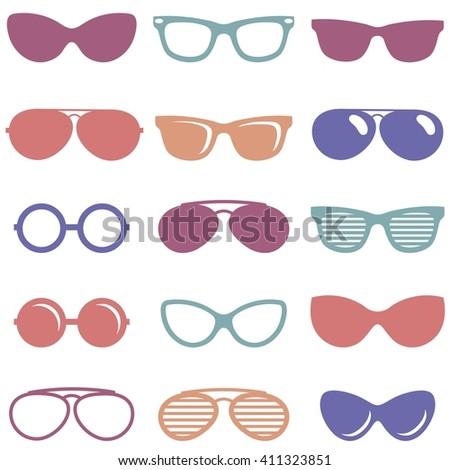 Set of colorful retro sunglasses icons - stock vector