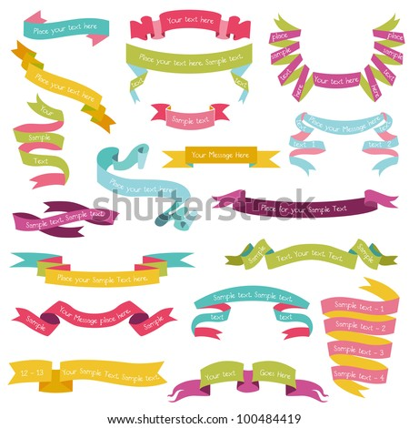Set of Colorful Ribbons for your Text - in vector - part 1 - stock vector
