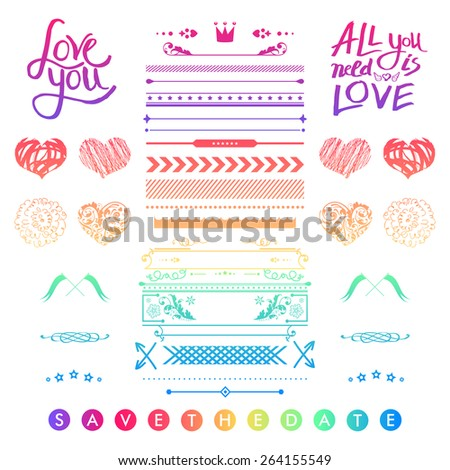 Set of colorful romantic elements for a wedding invitation with doodle sketches and calligraphic design hearts, frames, borders and text letters - Save The Date - with inspirational messages of love - stock vector