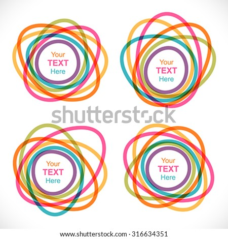 Set of colorful round abstract banners. Global colors - easy to change. - stock vector