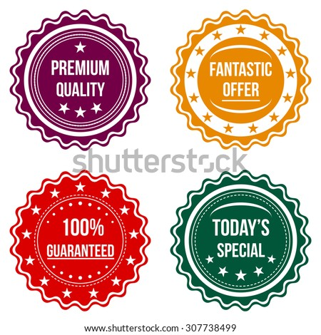Set of colorful round badges on a white background. Sale, discount theme. Vector illustration.