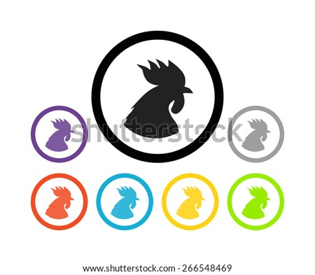 Set of colorful round icons of cocks, Vector Illustration of eco farm product - stock vector