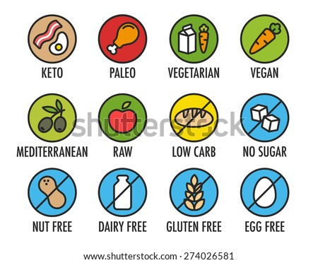 Set of colorful round icons of various diets and ingredient labels. Including ketogenic, paleolitic, vegetarian, vegan and more. - stock vector