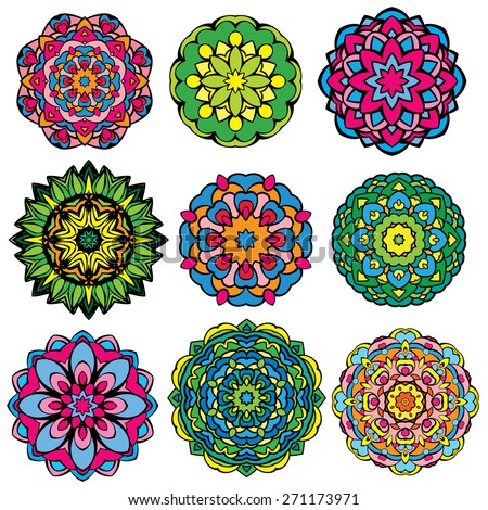 Set of 9 colorful round ornaments, kaleidoscope floral patterns. - stock vector