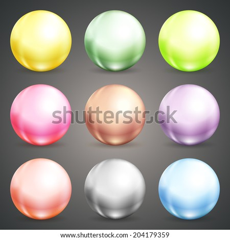 Set of colorful round vector spheres  baubles or balls in pastel colors of the rainbow with reflective shiny dimensional surfaces for celebrating Christmas  New Year or a party - stock vector