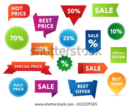Set of colorful sale banners in different shapes. - stock vector