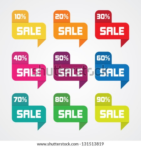 Set of Colorful Sale Labels - stock vector