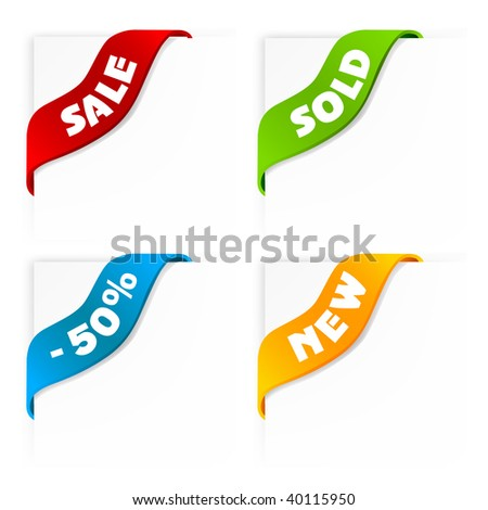 set of colorful sale labels - vector ribbons