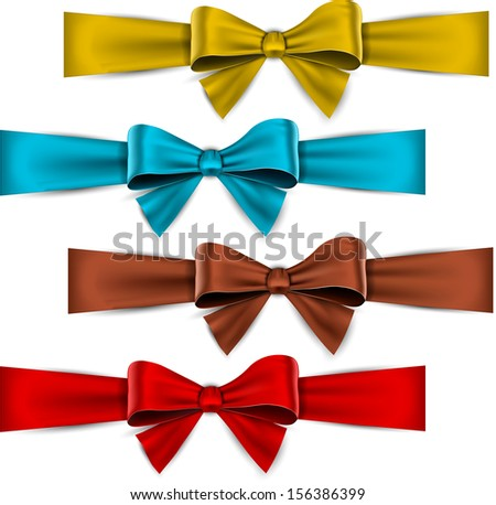 Set of colorful satin bows. Vector ribbons for gift. Eps10.