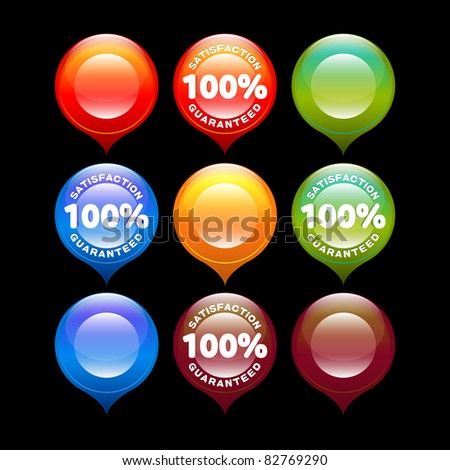 set of colorful satisfaction guaranteed and blank labels - stock vector