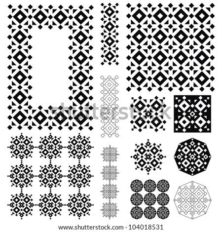 set of colorful seamless geometrical patterns elements - stock vector