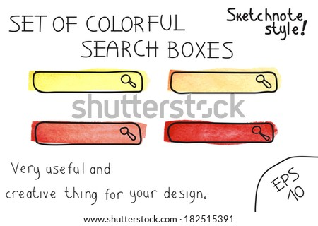 Set of colorful  search boxes. Vector illustration. Sketchnote style - stock vector