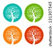 Set of Colorful Season Tree icons, vector logo illustration - stock vector