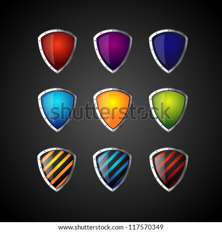 set of colorful shield - stock vector