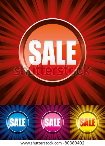 Set of colorful shiny sale buttons, vector illustration - stock vector