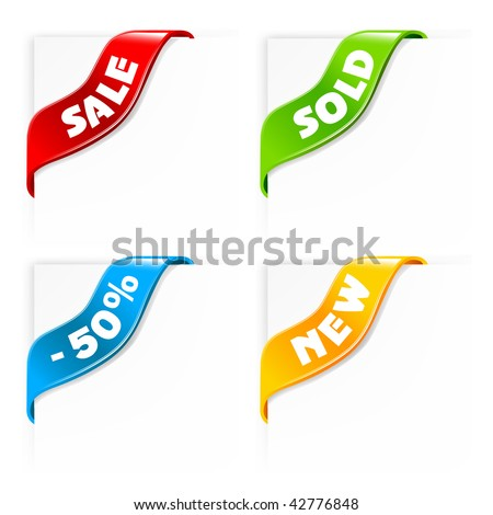 set of colorful shiny sale labels - vector ribbons
