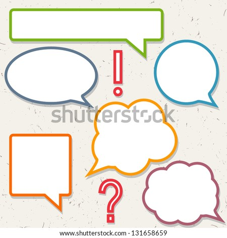 Set of colorful speech bubbles, frames for you design - stock vector