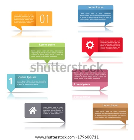Set of colorful speech bubbles with place for text, vector eps10 illustration - stock vector