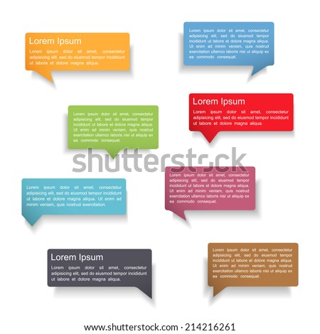 Set of colorful speech bubbles with shadows on white background, vector eps10 illustration - stock vector