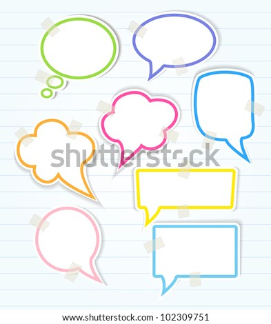 Set of colorful speech bubbles with sticky tape and smooth shadow - stock vector