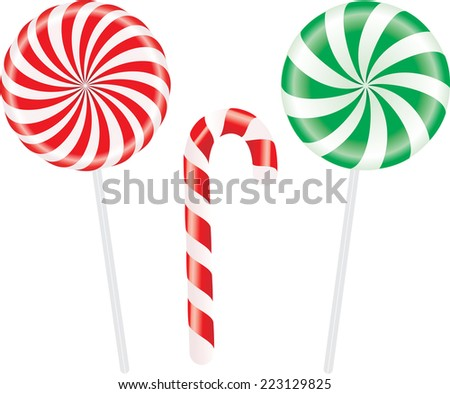 Set of colorful spiral candies lollipops. Vector illustration - stock vector