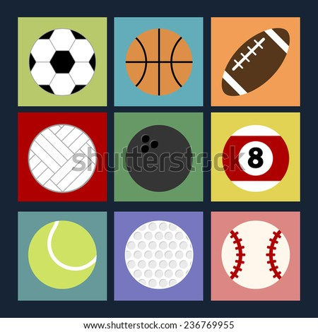 Set of colorful sport balls icons for different games with long shadows. Vector illustration of sport symbols in flat style on the multicolored squares background