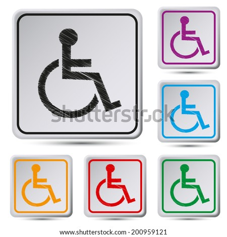 Set of colorful square button.Vector illustration  Disabled icon. Human on wheelchair symbol. Handicapped invalid sign. - stock vector