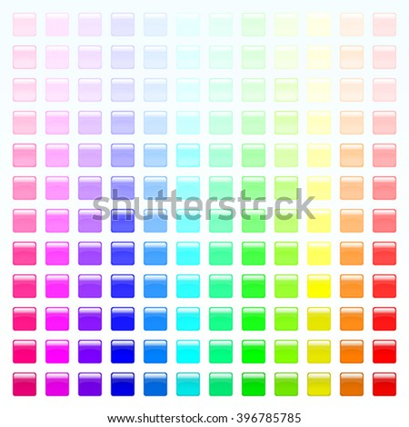 Set of colorful square buttons (red, orange, yellow, green, blue, violet, tortoise, pink). Glossy shine design elements. Multicolored illustration for web or typography (magazine, brochure, poster). - stock vector