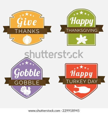 Set of colorful sticker, label or tag for Thanksgiving Day celebration on shiny grey background. - stock vector