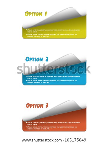 Set of colorful stickers for your options-vector