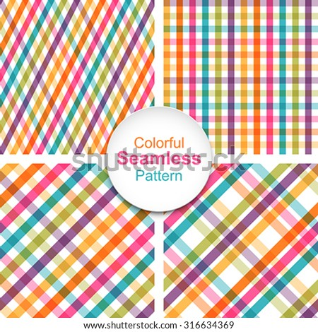 Set of colorful striped seamless patterns. Global colors - easy to change. - stock vector