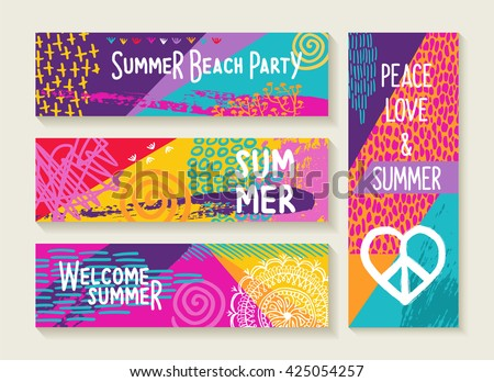 Wonderful Set Of Colorful Summer Designs, Happy Elements And Text Quotes For Beach  Party Invitation,