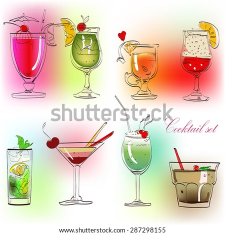 set of colorful summer drinks - stock vector