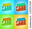 set of colorful summer sale sunburst text - stock vector