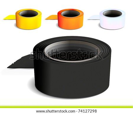 Set of colorful tape rolls - stock vector