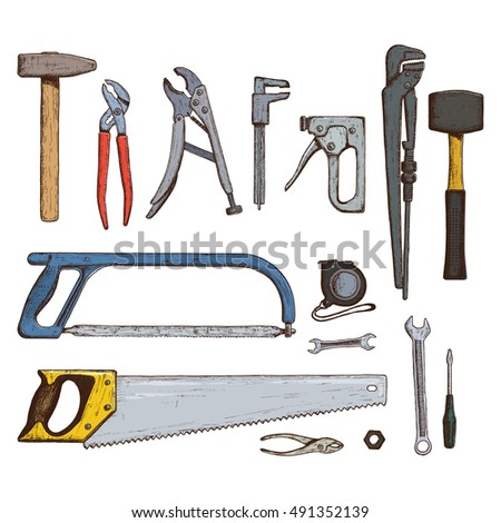 Set of colorful tool icons. Sketch style illustration of repair tools for vintage decoration. Vector.