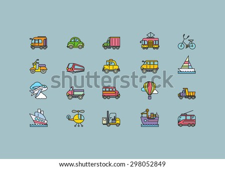 Set of colorful transport thin, lines, outline, strokes icons. Different kinds of transport airplane, bicycle, train, automobile, balloon, ship, sailboat on grey. For web and mobile applications  - stock vector