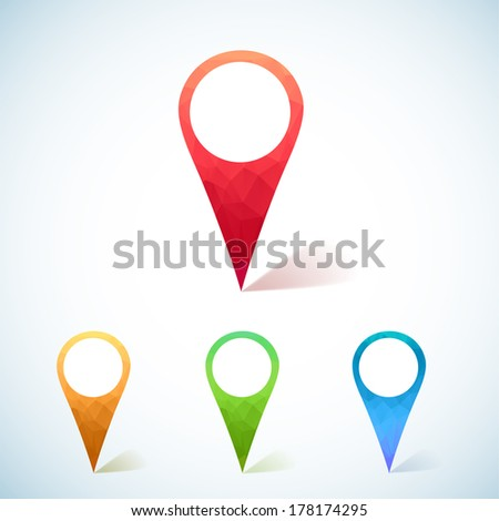 Set of Colorful triangular Map Markers - stock vector