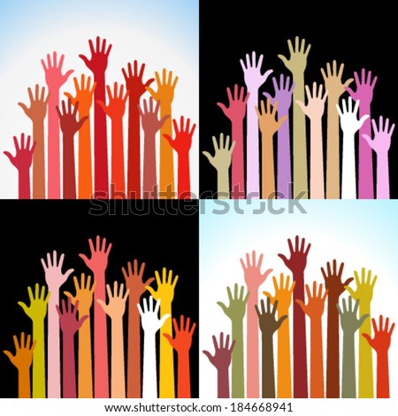 Set of colorful up hands, vector illustration